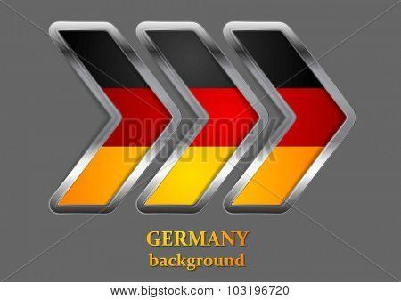 Abstract modern metallic arrow. German colors. Vector background