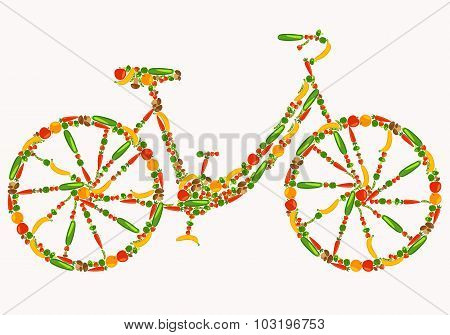 Vegan bicycle. Healthy lifestyle. Beautiful background with fruits, vegetables, berries and mushroom