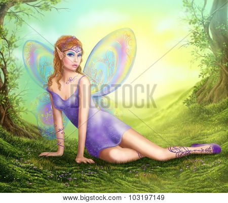fantasy fairy  butterfly sits on  grass in wood