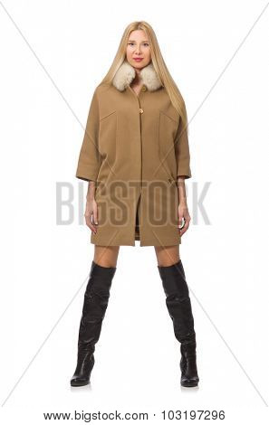Blond hair girl in coat isolated on white