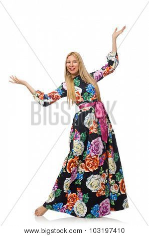Girl in long flower dress isolated on white
