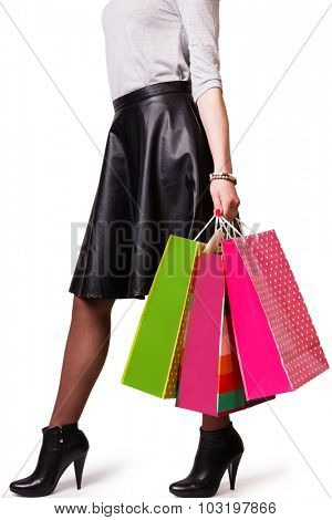 woman hold shopping bag. Isolated on white background.