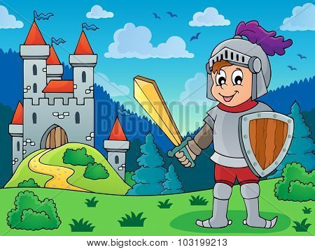 Knight in armor near castle - eps10 vector illustration.