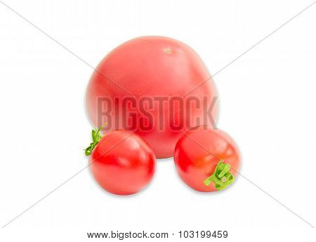 Three Ripe Red Tomatoes Different Sizes Closeup