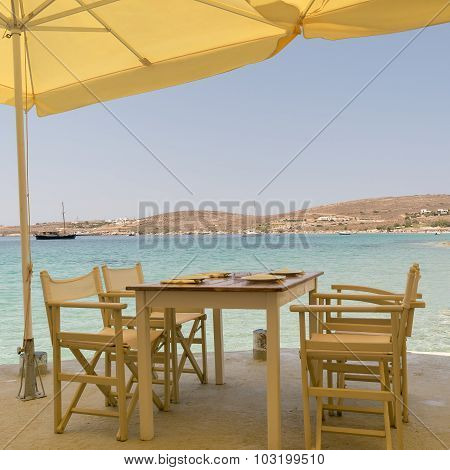 Beautiful scenic at Paros island in Greece with a greek traditional tavern against the sea.