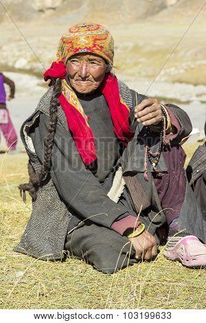 Portrait Of Elderly Tibetan Woman