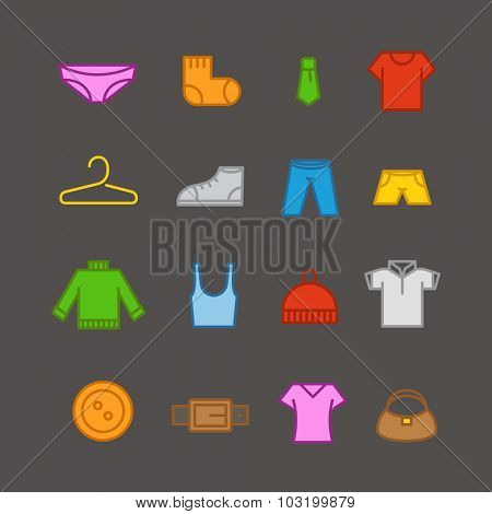 Different color clothes silhouettes vector collection