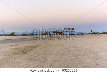 Petrol Station In Late Afternoon At Desert Center