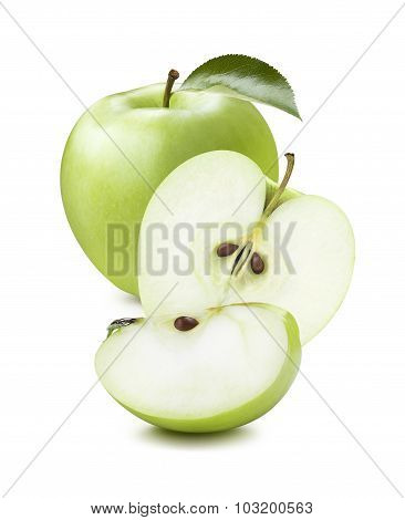 Green Apple Pieces Vertical Composition Isolated On White Background