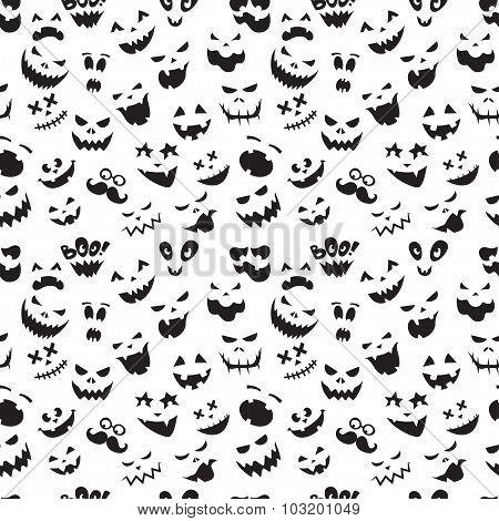 Seamless pattern Of Vintage Happy Halloween flat  emotocons. Hal