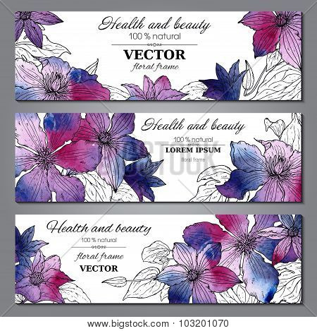 Set Of Three Horizontal Banners With Beautiful Clematis Flowers