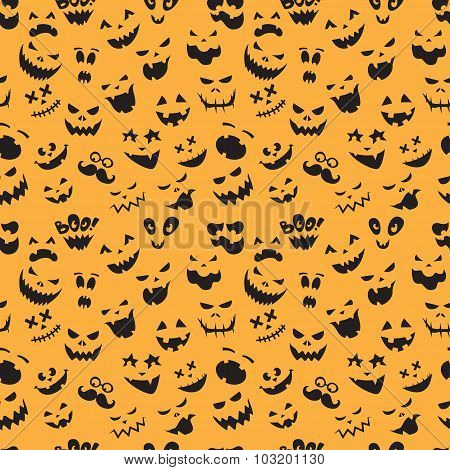 Seamless pattern Of Vintage Happy Halloween flat  emotocons. Hal