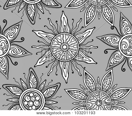 Seamless vector pattern with beautiful ornate suns