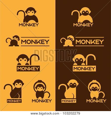 Yellow and Brown Monkey logo vector set design
