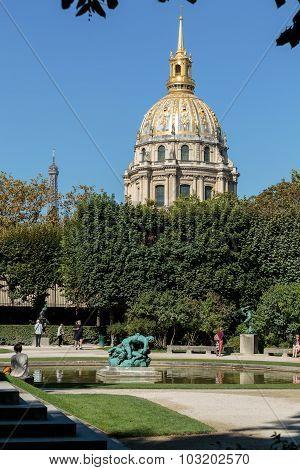 PARIS, FRANCE - SEPTEMBER 12, 2014: View of Dome des Invalides burial site of Napoleon Bonaparte Paris France