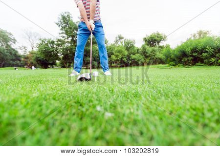 Golfer Getting Ready To Take A Shot