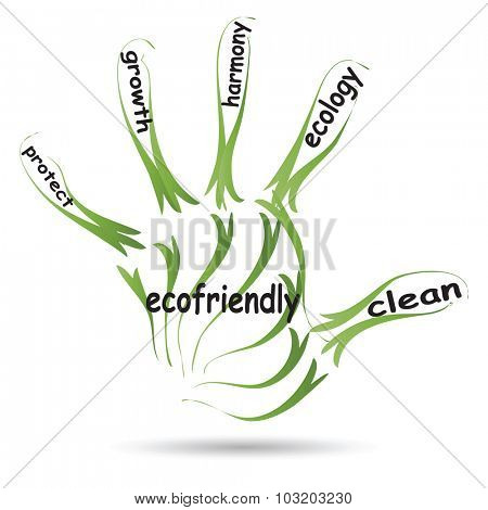 Conceptual abstract green ecology, conservation word cloud text in man hand or handprint on white background