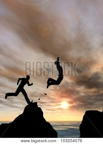 Concept or conceptual 3D young man or businessman silhouette jump happy from cliff over water gap sunset or sunrise sky background