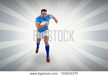 Rugby player running with the ball against linear design