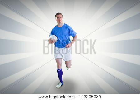 Rugby player running with the rugby ball against linear design