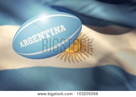 Argentina rugby ball against argentina flag against white background