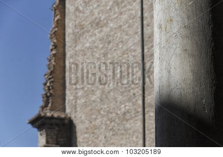 Collapsed Wall In An Italian City