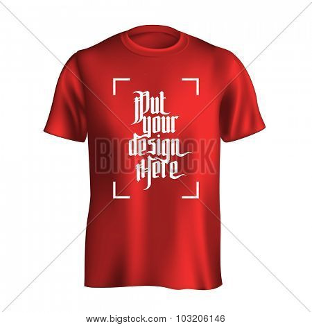 Men's t-shirt design template. Red mock-up isolated on white background