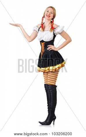Woman in bavarian costume isolated on white