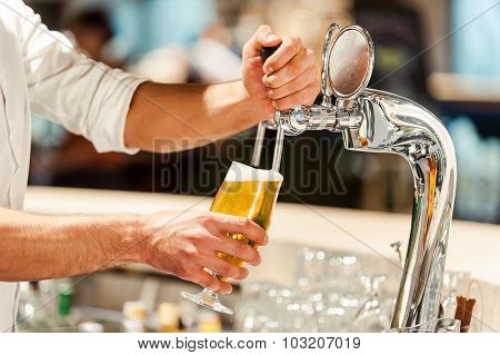 Pouring Fresh Beer.