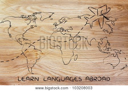 Learn Languages Abroad, Airplane Wearing Graduation Hat Flying Across The World