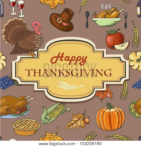Thanksgiving background with acorns, leaves and  inscription in the middle