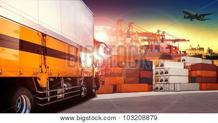 Container Truck In Shipping Port ,container Dock And Freight Cargo Plane Flying Above Use For Transp