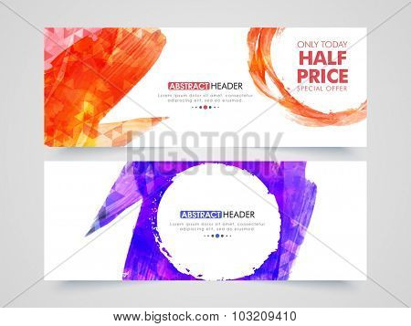 Creative abstract Sale website header or banner set with special discount offer.