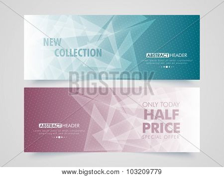 Creative abstract Sale website header or banner set with special discount offer for limited time.