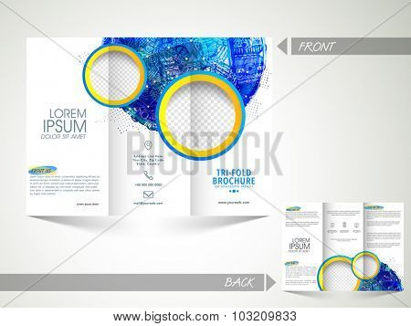 Front and back page presentation of creative Business Trifold Brochure, Template or Flyer with abstract design and space for your images.