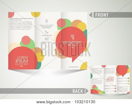 Abstract professional Trifold Brochure, Template or Flyer design with front and back side presentation for your Business.