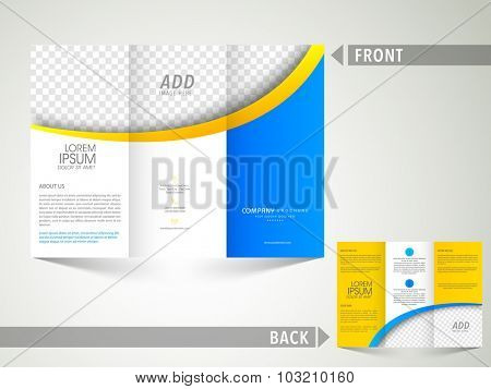 Professional Business Trifold Brochure, Template or Flyer design with two sided presentation and space to add your images.