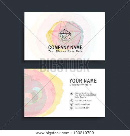Creative horizontal business card, name card or visiting card set with colorful splash.
