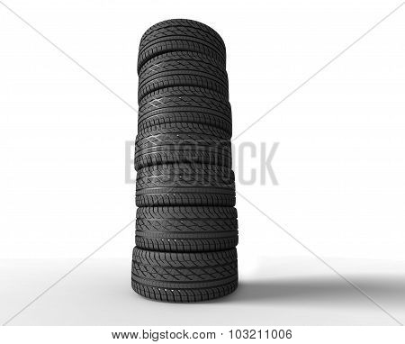 pile of tyres on white