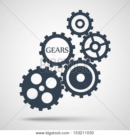 gray toothed gears (cogs) is meshed on gray background. vector illustration eps10