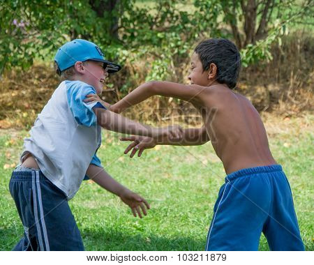Boys Different Race Fight Against Each Other