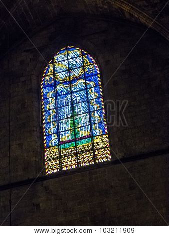 Stained Glass Window In Santa Maria Del Mar