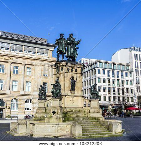 Johannes Gutenberg Monument On The Southern Rossmarkt