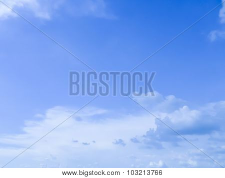 White Cloud On The Blue Sky In The Morning