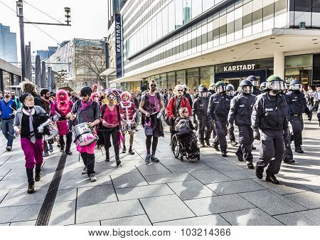 People Demonstrate Against Ezb And Capitalism In Frankfurt