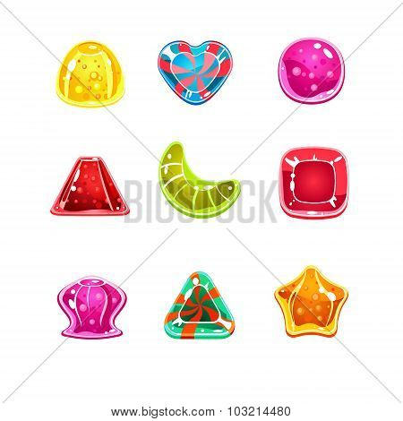 Colourful Glossy Candies of Various Shapes