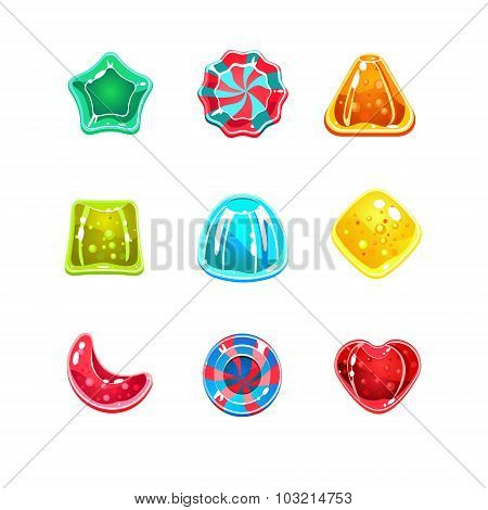 Glossy Colourful Candies of Various Shapes
