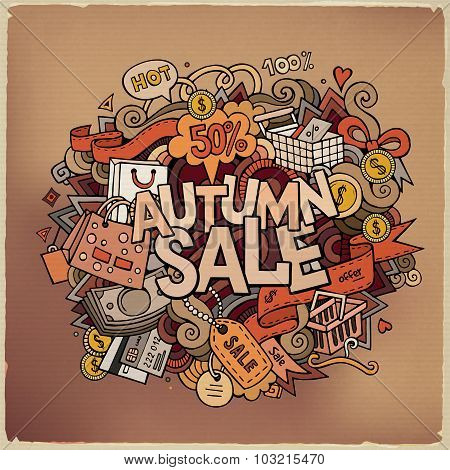 Autumn sale hand lettering and doodles elements