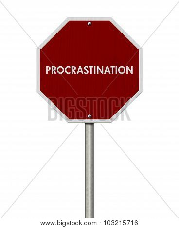 Stop Procrastination Road Sign