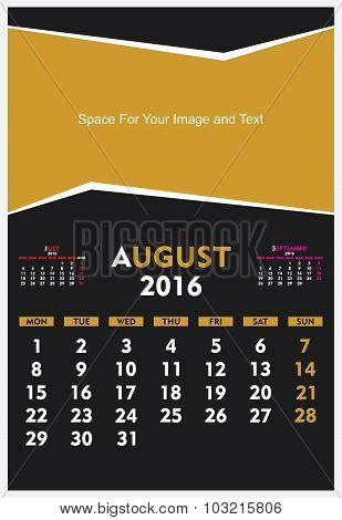 new year calendar August 2016 design